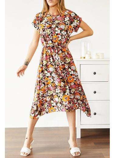 XHAN Multi Beli Lastikli Asimetrik Çiçek Desenli Elbise 0Yxk6-43873-10 Renkli